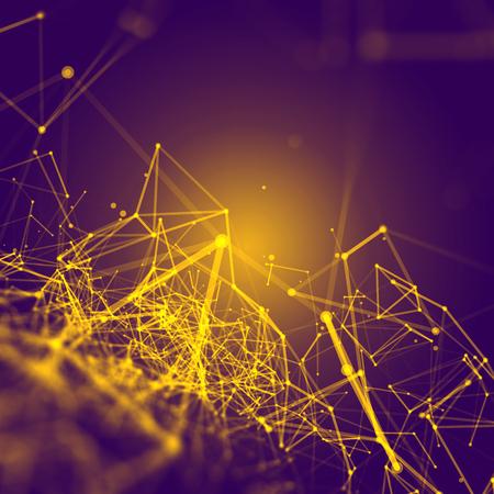 Resumen espacio poligonal fondo púrpura con amarillo Low Poly puntos y líneas de conexión - Estructura de conexión - Fondo futurista de HUD Foto de archivo