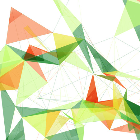 technology: Colorful Green Yellow and Orange Abstract Network Mesh on White Background - Vector Illustration Illustration