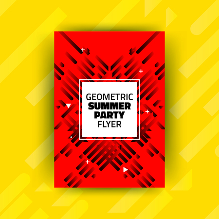 Abstract Summer Party Minimalist Poster Template Design - Creative Vector Illustration for Cover, Flyer - Black Diagonal Lines on Red Background with White Square