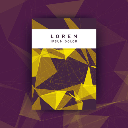 digital background: Abstract Polygon Poster - Creative Vector Illustration for Cover, Flyer, Card, Presentation - Yellow Mesh on Purple Background Illustration
