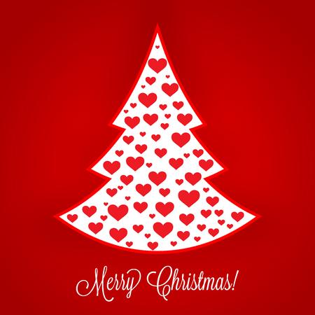 Rote und weiße frohe Weihnachten-Vektor-Hintergrund-Abdeckung - Herz-Element in Weihnachtsbaum-Form