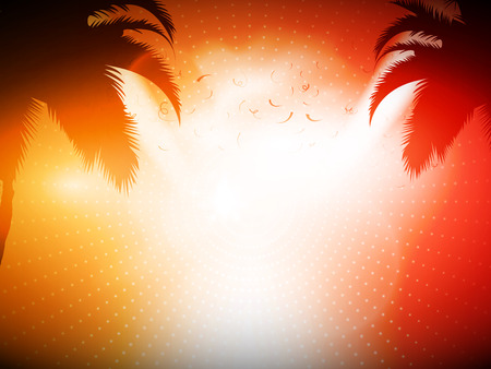 Orange and Red Abstract Vector Background for Party Commercial - Palm Trees with Bright Light Illustration