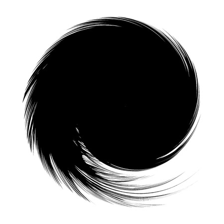 twist: Abstract Black Feather Spiral Frame on White Background Vector Illustration