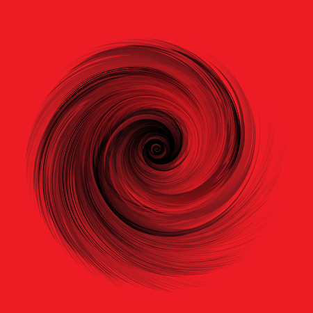 Abstract Black Realistic Round Feather Vector Illustration on Red Background Illustration