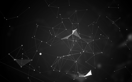 Black Abstract Background with White Space Polygonal Connecting Dots and Lines | Network - Data Visualization Illustration