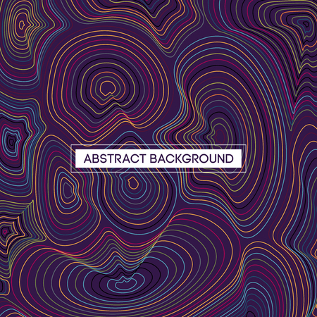 Abstract Multicolor Topographic Lines Map Vector Illustration on Purple Background