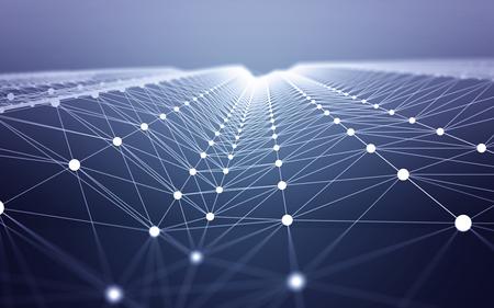 3D 추상 다각형 공간 파란색 배경 흰색 낮은 폴 연결 점과. 클라우드 컴퓨팅에서 인터넷 연결을 나타내는 끝없는 메쉬.