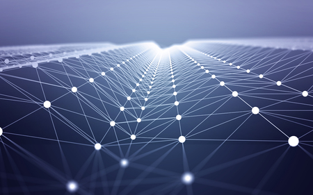 3D Abstract Polygonal Space Blue Background with White Low Poly Connecting Dots and Lines. Endless Mesh Representing Internet Connections in Cloud Computing. Foto de archivo