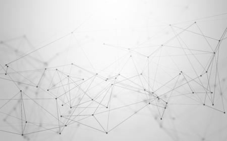 3D streszczenie wielokątne czarno-białe tło z szarym Low Poly łączące kropki i linie. Endless Mesh reprezentująca połączenia internetowe w chmurze obliczeniowej.