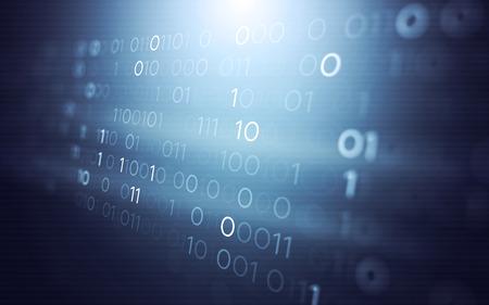 3 D の抽象的な未来技術ユーザー インターフェイスはバイナリ コードの説明は、背景を描画します。
