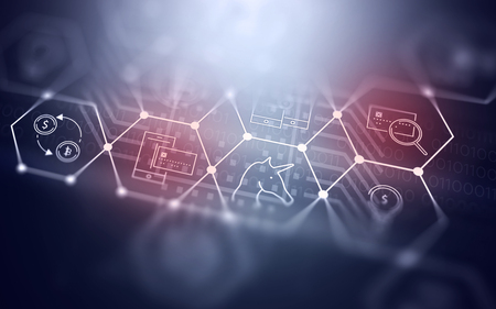 3D 추상 미래의 Fintech 그림 배경 Bitcoin 통화에 대 한 기술 기호 스톡 콘텐츠