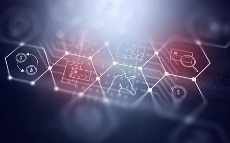 Bitcoin 通貨について技術記号と 3 D の抽象的な未来フィンテック イラスト背景