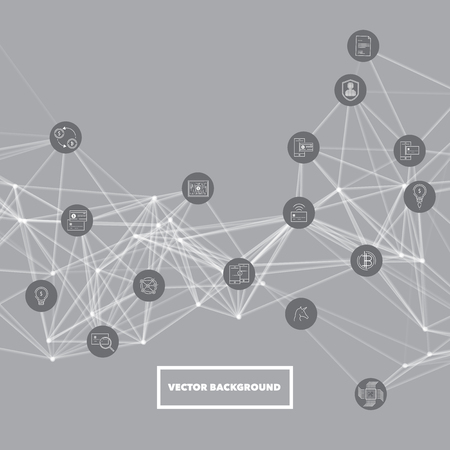Abstract network mesh with bitcoin icons collection - illustration vector background
