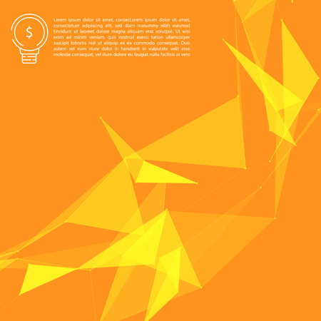 Yellow Abstract Network Mesh on Orange Background with Copyscape for Your Text  - Vector Illustration - Bitcoin Template Design