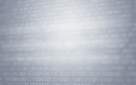 3D Abstract White Binary Code Futuristic Information Technology Illustration Render Background Stock Photo