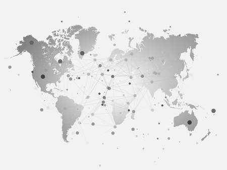 World map silhouette with connection grid. Vector illustration background. Network concept design.