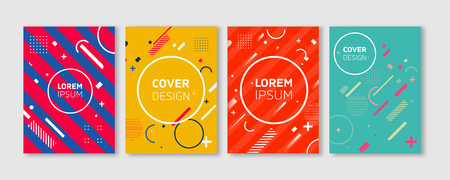 Minimal Vector covers design. Cool Vibrant colors flat geometric illustrations. Future Poster template.