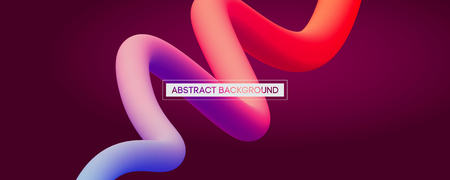 Minimal abstract liquid curve lines in vibrant color - vector concept background