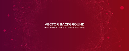 Red Abstract Network Mesh with Your Text - Wide Angle Purple Vector Background Vettoriali