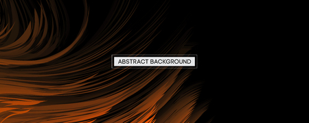 Abstract Design Orange Feather on Black Background | Wide Angle Vector Illustration Vettoriali