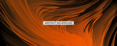 Abstract Design Orange Feather on Black Background | Wide Angle Vector Illustration Vectores
