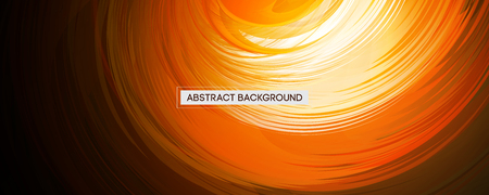 Abstract Swirl Design Orange Rounded Feather on Black Background | Wide Angle Vector Illustration