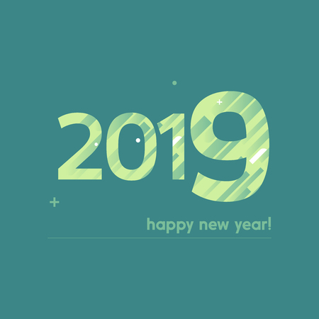 Happy New Year 2019 Vector Illustration - Bold Text with Creative Design on Blue Background -  Green and White Lines, Circles, Plus Sign Illustration