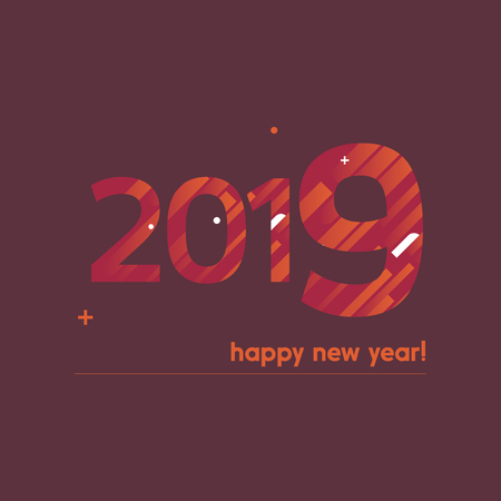 Happy New Year 2019 Vector Illustration - Bold Text with Creative Design on Red Background - Orange and White Lines, Circles, Plus Sign