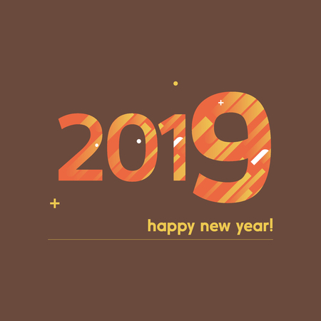 Happy New Year 2019 Vector Illustration - Bold Text with Creative Design on Brown Background - Orange and Yellow Lines, Circles, Plus Sign