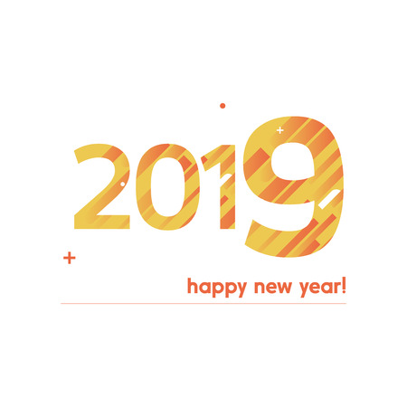 Happy New Year 2019 Vector Illustration - Bold Text with Creative Design on White Background - Orange and Yellow Lines, Circles, Plus Sign