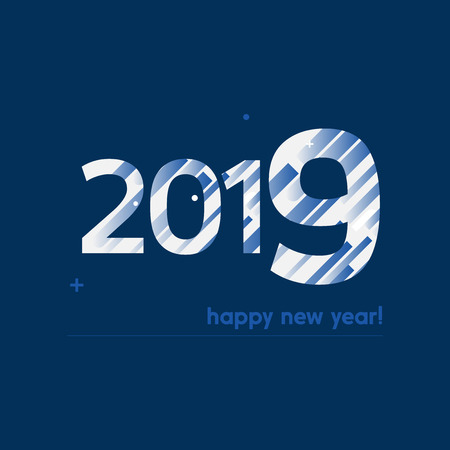 Happy New Year 2019 Vector Illustration - Bold Text with Creative Design on Dark Blue Background -  White and Blue Lines, Circles, Plus Sign