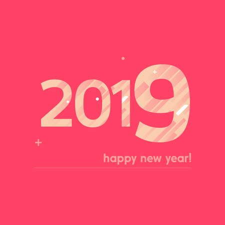 Happy New Year 2019 Vector Illustration - Bold Text with Creative Design on Red Background - Lines, Circles, Plus Sign in White and Pastel Colors