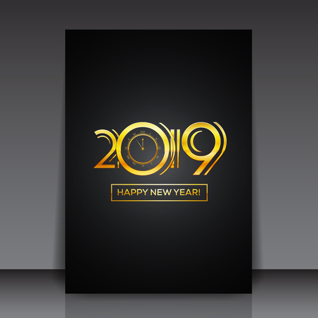 Happy New Year 2019 Greeting Card or Flyer Template Design - Countdown Golden Numbers with Bold Frame on Dark Background | EPS10 Vector Illustration Design Çizim