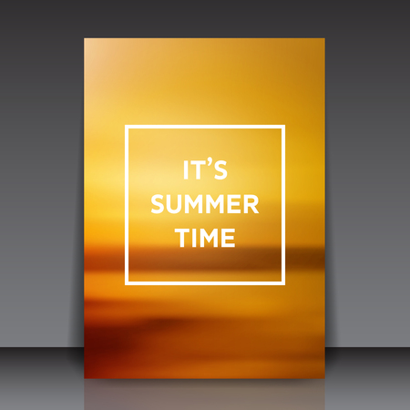 Its summer time text on blurry background - orange abstract flyer template vector illustration