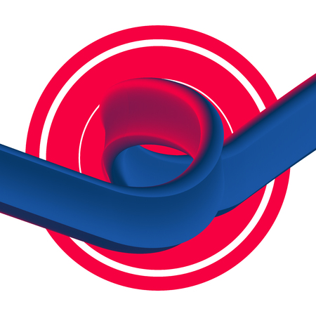 3D Paint Brush with Vibrant Texture on White Background. Vector Red and Blue Line Stroke. Creative Element of a Digital Poster Design Ilustrace