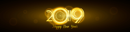 Happy New Year 2019 Greeting Card - Countdown Golden Numbers with Bold Frame on Dark Background | EPS10 Vector Wide Illustration Design Reklamní fotografie - 126371293