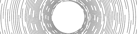 Abstract Black Concentric Round Lines on White Background - Wide Vector Illustration
