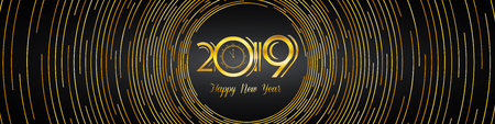 Happy New Year 2019 Greeting Cover Template Design - Golden Numbers on Dark Background with Rounded Lines Design | Wide Vector Illustration Ilustrace
