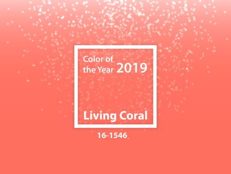 Color of the year 2019 Living Coral - Vector Illustration with Glitter