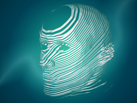 3D Head with White Stripes Illustration - Technology Vector Background