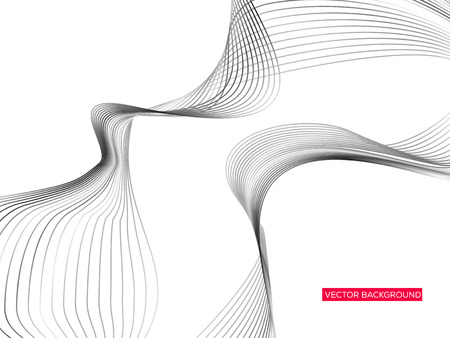 Abstract background with dynamic linear waves. Vector illustration in future minimalistic style