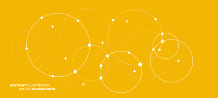 Abstract vector illustration with overlapping circles, dots and dashed circles. Science and connection concept. Wide molecule structure background. Ilustrace