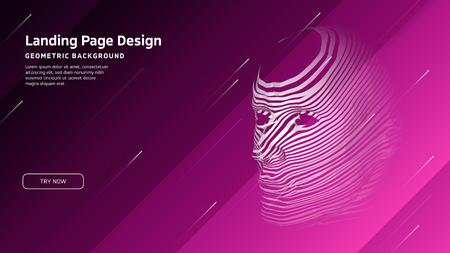 Minimal geometric background. Landing page design template. Artificial intelligence with 3D Robot mesh head composition. EPS10 vector Reklamní fotografie - 124544769