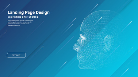 Minimal geometric background. Landing page design template. Artificial intelligence with 3D Robot mesh head composition. EPS10 vector Ilustrace