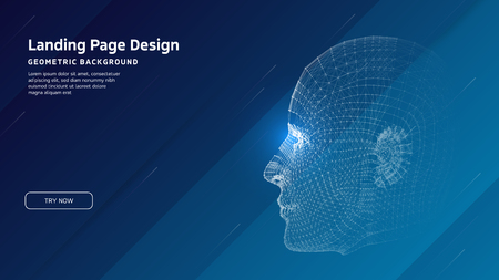 Minimal geometric background. Landing page design template. Artificial intelligence with 3D Robot mesh head composition. EPS10 vector Reklamní fotografie - 124544771