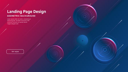 Minimal geometric background. Landing page design template. Dynamic shapes composition. Vector illustration
