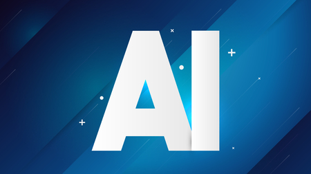 White AI Text on Blue Background. Artificial Intelligence - Vector Illustration