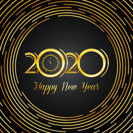 Golden 2020 Design with Happy New Year Text - Event Vector Background - Invitation Card Ilustracja
