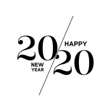 2020 Logo Happy New Year. Brochure Design Template, Poster, Card, Banner. Vector Illustration. Black Design Isolated On White Background.