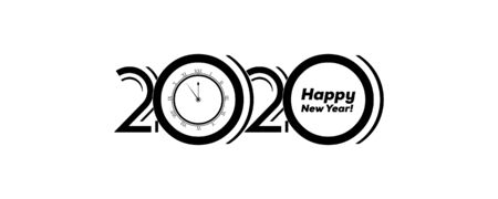 2020 Logo Happy New Year Background. Brochure Design Template, Poster, Card, Banner. Vector Illustration. Ilustracja